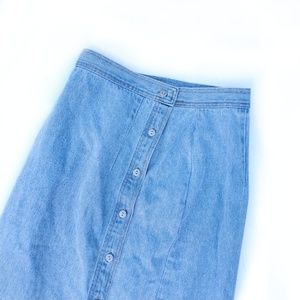 Vintage Denim Button Front High Waisted Skirt
